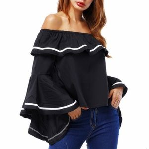 Urban Mix cropped bell sleeve blouse